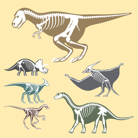Dinosaurs skeletons silhouettes set Illustration