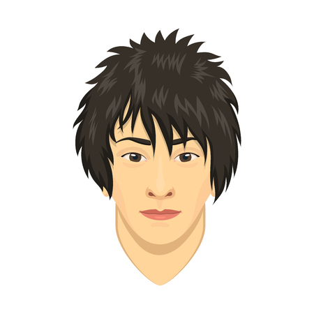 Young asian man avatar character male face portrait cartoon person vector illustration.