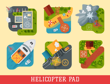 Helicopter pad landing ground landing area platform vector top view illustration.