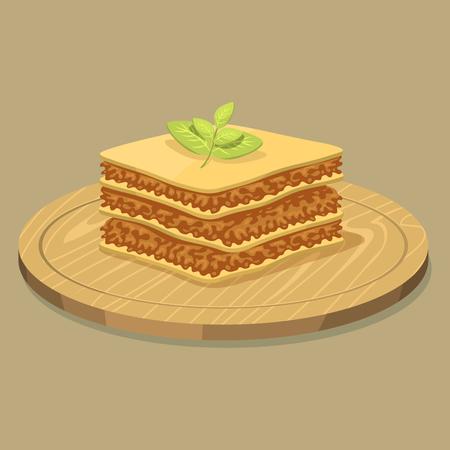 Van de het volkorenweefsel van lasagna'swaren van de het graanrijst van de de voedsel gele gele voedingsnoedels de producten van het het dinerproducten vectorillustratie. Stock Illustratie