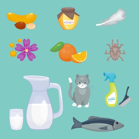 Allergiesymbole. Standard-Bild - 86990076