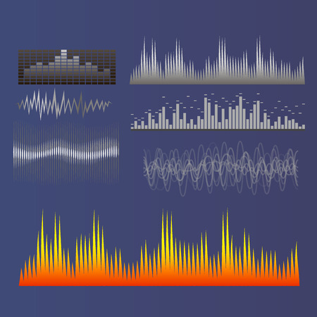 디지털 음악 이퀄라이저 웨이브 디자인 템플릿 일러스트