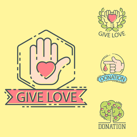 Donate money set icons