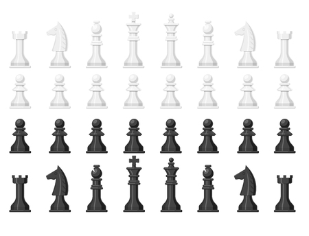 Chess board and chessmen leisure concept knight group white and black piece competition vector illustration Çizim