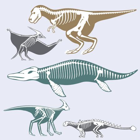Dinosaurs skeletons silhouettes set 向量圖像