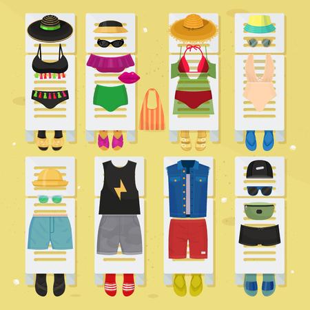 夏の時間ビーチファッションの服はデザインに見えます