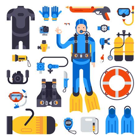 Set of flat diving elements