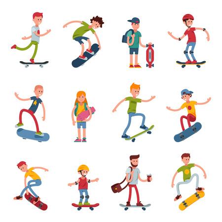 Jonge skateboarder actieve mensen sport extreme actieve skateboarden stedelijke springen trucs vector illustratie.