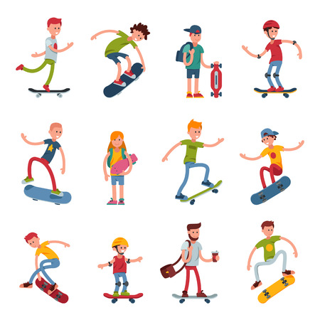 Young skateboarder active people sport extreme active skateboarding urban jumping tricks vector illustration. Imagens - 86990114