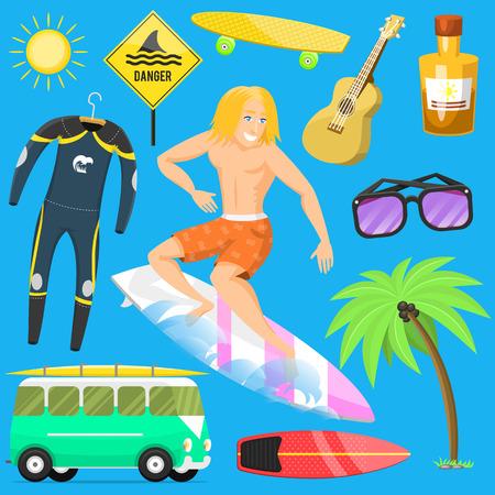 Het surfen actieve van de de zomertijd van de watersport surfer de activiteiten van het de activiteitenmens windsurfing straalwater wakeboarding kitesurfing vectorillustratie. Stock Illustratie