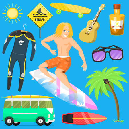 Surfing active water sport surfer summer time beach activities man windsurfing jet water wakeboarding kitesurfing vector illustration.