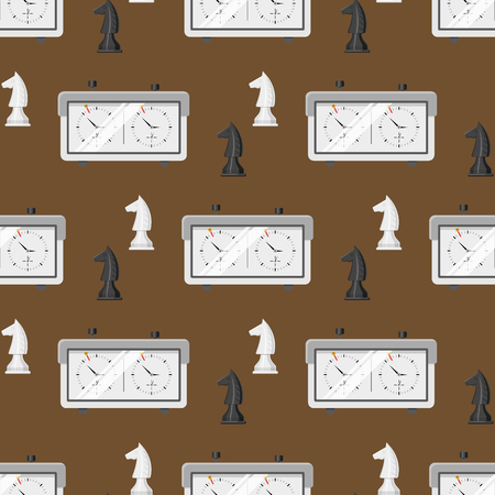 Chess board pattern chessmen leisure concept knight group white and black piece competition illustration
