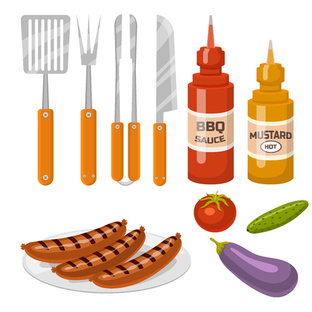 Barbecue home cooking or restaurant rarty dinner products bbq for grilling and kitchen equipment vector flat illustration. Barbecue kebab equipment symbols isolated Stock Vector - 87054751