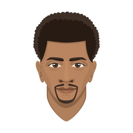 젊은 afro 남자 아바타 문자 남성 얼굴 초상화 만화 사람 벡터 일러스트 레이 션. 성인 디자인 캐주얼 남자 사용자는 사람들이 매력적인. 일러스트