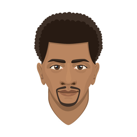Young afro man avatar character male face portrait cartoon person vector illustration. Adult design human people attractive casual guy user.