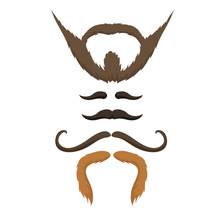 Vector set of hipster retro hair style mustache vintage old shave male facial beard haircut isolated illustration. Curly face collection fashion barber hairstyle design. Illustration