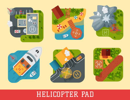 Helicopter pad landing ground landing area platform vector top view illustration. Helicopters landing pad aviation city platform. Takeoff vehicle tourism heliport sign. Stock Vector - 87054768