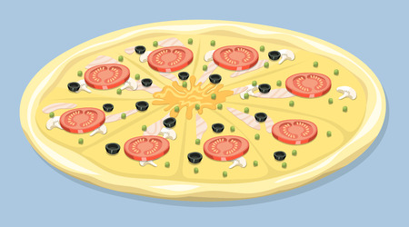 Pizza isolated vector illustration piece pizzeria food menu snack pepperoni italian cuisine delicious homemade cooking fresh traditional lunch vector illustration. Dish plate vegetarian cooked snack.
