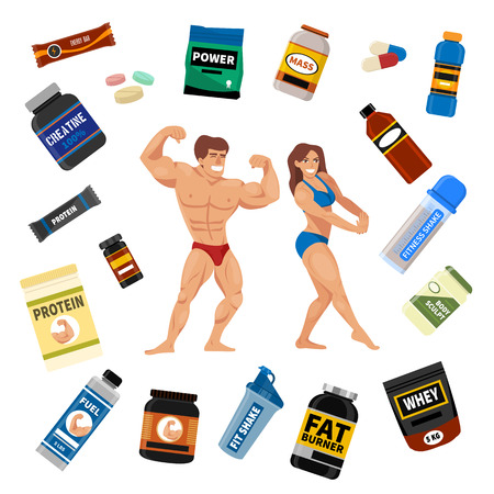 Bodybuilders gym athlete and sport food diet symbols fitness nutrition protein powder drink vector illustration. Jars and bottles with supplements for muscle growth