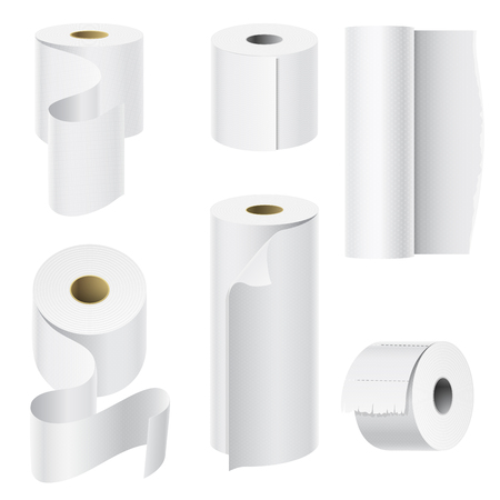 Realistic paper roll set illustration.