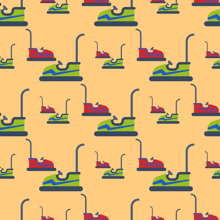 Carousels amusement attraction park cars seamless pattern side-show kids outdoor entertainment construction vector illustration.