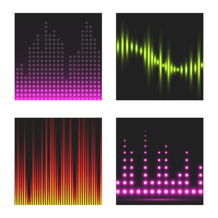 Vector digital music equalizer audio waves brochure card template audio signal visualization signal illustration.