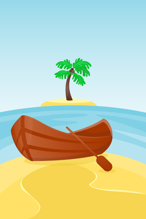 Summer time boat vacation nature tropical beach landscape of paradise island holidays lagoon vector illustration. Иллюстрация
