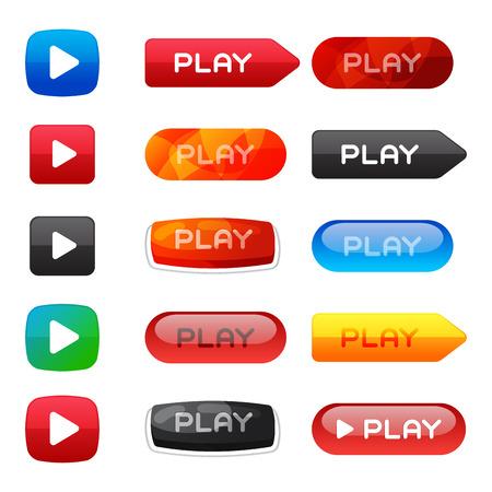 UI interface button play media internet website element online player mark click vector illustration.