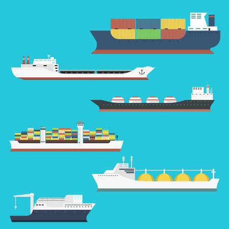 Cargo vessels and tankers shipping delivery bulk carrier train freight boat tankers isolated on background vector illustration Ilustração