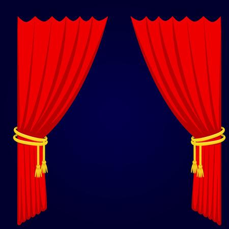 Van de het gordijnstof van de theatherscène de blinde van de de textuurprestaties van het gordijnstof binnenlandse de ingangsachtergrond geïsoleerde vectorillustratie Vector Illustratie