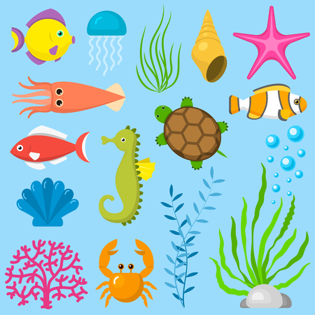 Set aquatic funny sea animals underwater creatures cartoon characters shell aquarium sealife vector illustration. Illustration