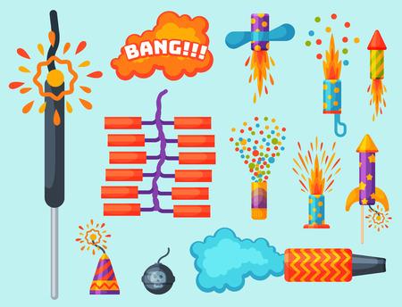 Feux d'artifice pyrotechnie fusée et clapet fête d'anniversaire cadeau célébrer vecteur illustration festival outils Banque d'images - 87117611