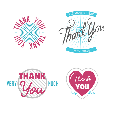 Thank you gratitude feeling emotions text lettering vector badge thanksfull quote phrases message