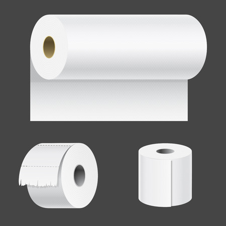 Realistic paper roll mock up set isolated vector illustration blank white 3d packaging kitchen towel template Illustration