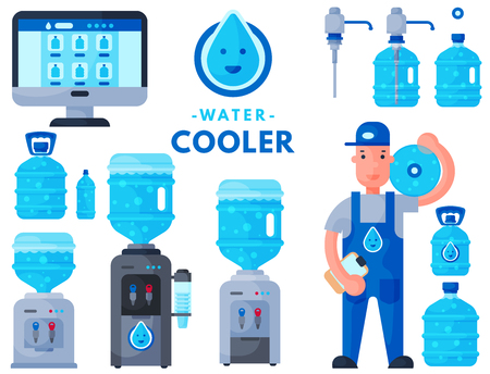 Water delivery service man character in uniform and different water bottle vector elements. Çizim