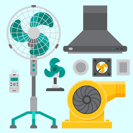 Airconditioner airlock systemen apparatuur ventilator conditioning klimaat ventilator technologie temperatuur koele vectorillustratie Stockfoto - 87117620