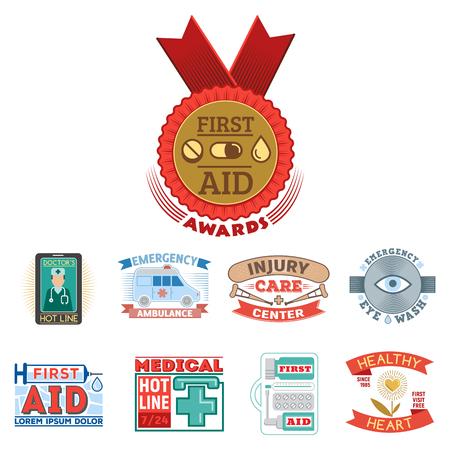 Vector illustration of medical emblem vintage tag for first aid healthcare and pharmacy medicine. Emergency ambulance hospital quality sign. Illustration