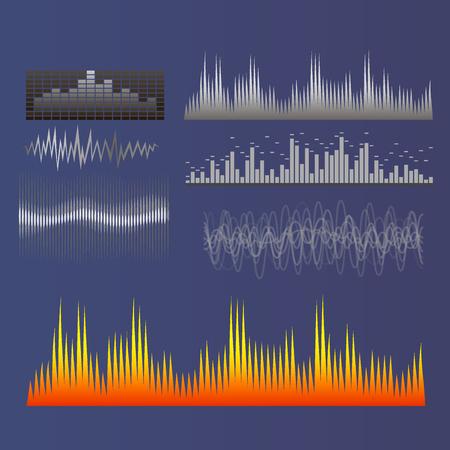 Vector digital music equalizer audio waves design template audio signal visualization signal illustration. Multitrack editing system soundtrack line bar spectrum electronic. Illustration