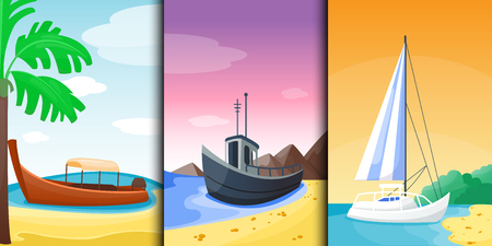 Summer time boat vacation beautiful nature tropical beach landscape of paradise island holidays background coastline lagoon vector illustration.