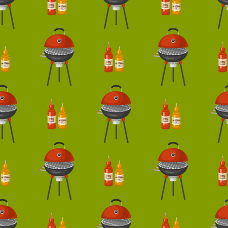 Barbecue home cooking seamless pattern background restaurant rarty dinner bbq for grilling and kitchen equipment vector flat illustration. Barbecue kebab equipment.