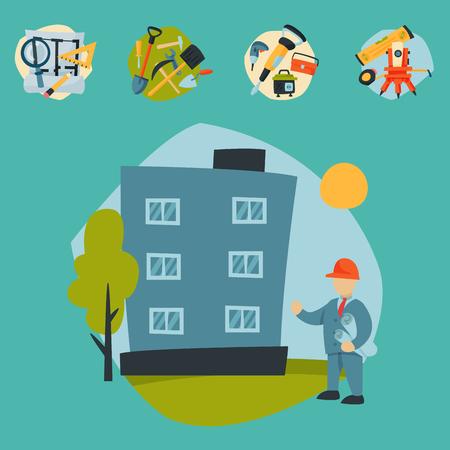 Baustelle Arbeiter Antenne Industrie Ausrüstung Architektur Kran Gebäude Geschäftsentwicklung Vektor-Illustration. Haus, das industrielle Stadtmaschinehäuser herstellt. Vektorgrafik