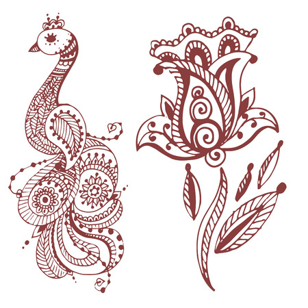Henna tattoo brown mehndi flower template doodle ornamental lace decorative element and indian design pattern paisley arabesque mhendi embellishment vector. Traditional decorative mandala element. Illustration