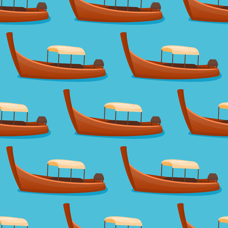 Summer time boat vacation beautiful nature tropical beach seamless pattern landscape of paradise island holidays background coastline lagoon vector illustration.