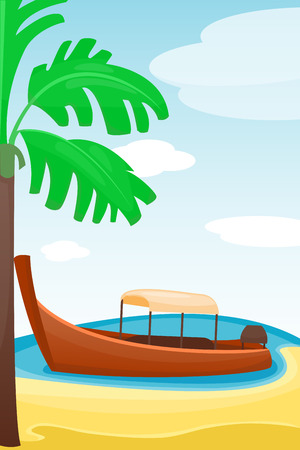 Summer time boat vacation beautiful nature tropical beach vector illustration. Фото со стока - 87213638