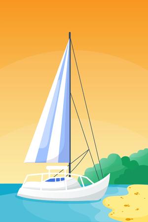Summer time, boat, beautiful nature, beach, landscape of paradise, island holidays, with coastline lagoon illustration.