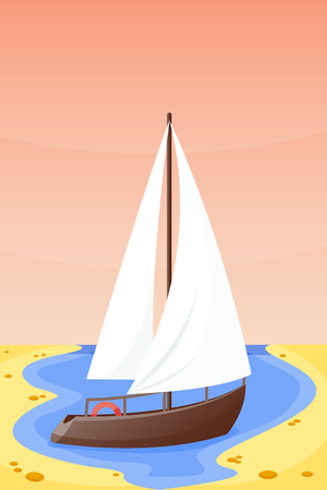 Summer time boat vacation beautiful nature tropical beach vector illustration.