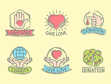 Charity set icons, help icon,donation contribution, charity, philanthropy symbols humanity support, Contribute design, give money contribution giving. Иллюстрация