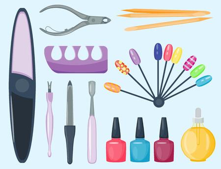 Insieme di manicure e pedicure, igiene e toelettatura, illustrazione di attrezzature di cosmetici personali Archivio Fotografico - 87213649
