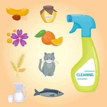 Allergie symbolen ziekte gezondheidszorg voedsel virussen en gezondheid vector illustratie. Stock Illustratie