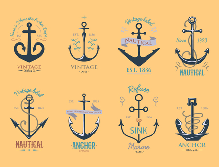Vintage retro anchor badge and label. Vector sign sea ocean graphic element nautical symbol. Marine emblem traditional anchorage design illustration. Çizim